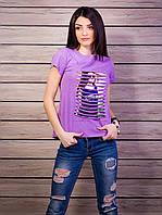 Женская модная футболка с прорезями