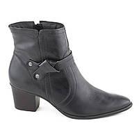 Женские Кожаные Ботинки на Каблуке Черные