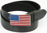 Джинсовый кожаный ремень с пряжкой флаг США (USA), Vanzetti, Германия, 100077 графит, 4х107 см