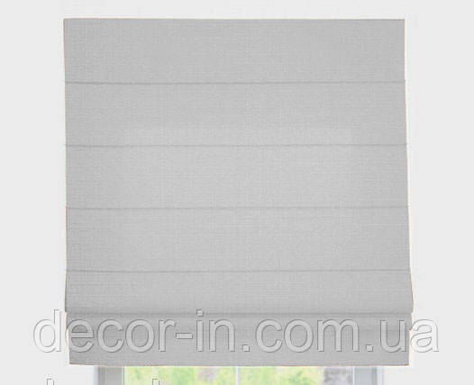 Римская штора с тканью Лен Белый ширина 70см /высота 160 см