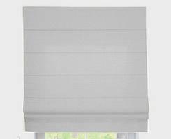 Римская штора с тканью Лен Белый ширина 40см /высота 160 см