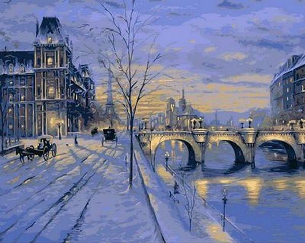 Картины по номерам 40×50 см. Зимний вечер в Париже Художник Роберт Файнэл