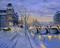 Раскраска по цифрам 40×50 см. Зимний вечер в Париже Художник Роберт Файнэл