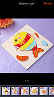Пазл конструктор для детей от 0-2 лет рыбка деревянная