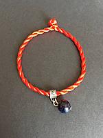 Браслет красная нить оберег от сглаза с камнем Авантюрин синий