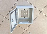 Бокс распределительный монтажный на 50 пар (250х250х140мм), стальной, с монтажным хомутом и замком, IP54