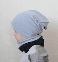 Демисезонная шапочка бини, унисекс, серый меланж. ОГ от 46, фото 1
