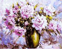Картины по номерам 40×50 см. Сиреневые пионы