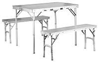 Комплект складной мебели TE-022 AS: стол, 2 лавочки, алюминий/ ДСП, кейс 90х40х12 см, 10,1 кг