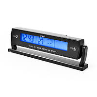 Автомобильные часы с термометром и вольтметром 7013V, синяя подсветка, календарь, питание 12-24 В