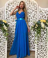 Нарядное шифоновое платье в пол с атласным поясом 42-46