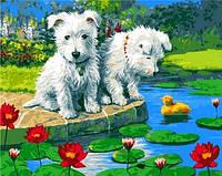 Картины по номерам 40×50 см. Озорные щенки Художник Jenny Newland