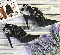 Стильные туфли с открытой пяткой, модным острым носком и декоративным верхом  SH1344