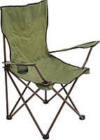 Раскладное кресло для отдыха DES102: 54х54х92 см, подстаканник, каркас из металла, чехол