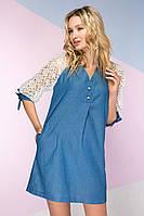 Джинсовое платье с кружевными рукавами 2 цвета