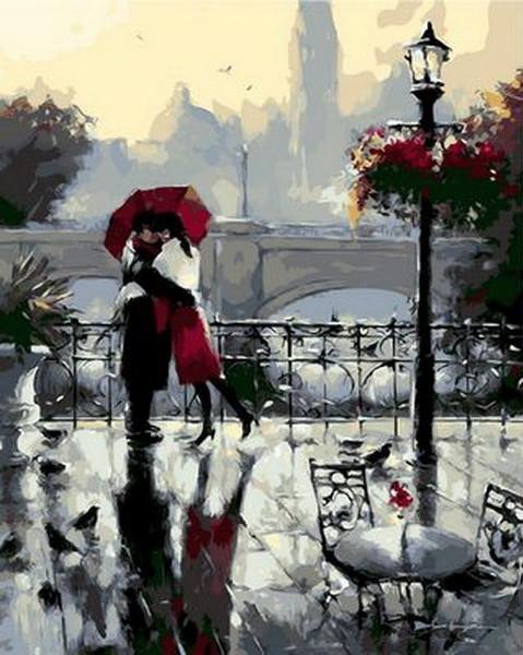Раскраски по номерам 40×50 см. Поцелуй под дождем Художник Ричард Макнейл