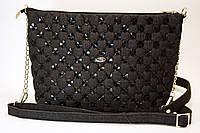 Женская джинсовая сумочка с черными кожаными кружочками 2, фото 1