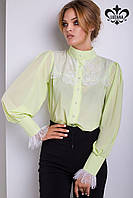 Шифоновая салатная блуза Виктория ТМ Luzana 42-46 размеры