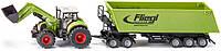 Трактор Claas с погрузчиком и прицепом, 1:50, Siku