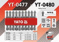 "Набор бит крестовых PН2 х 1/4"", 10шт, YATO YT-0480"