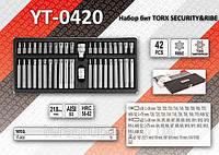 Набор бит TORX SECURITY & RIBE + 2 переходника, YATO YT-0420