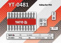 Набор двусторонних бит РН2 х 65мм, 10шт, YATO YT-04812
