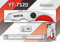 Нож с выдвижным трапециевидным лезвием,  YATO  YT-7520.