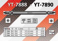"Биты крестовые 2-х сторонние 1/4"", L-110 мм, PH 3/3, 20 шт, YATO   YT-7890."
