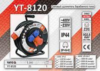 Удлинитель электрический на катушке 230-380V, 5х2,5мм - 25м., YATO YT-8120