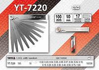 Щупы измерительные 100 х 10мм, 17 щупов, размер 0,02-1мм.,  YATO  YT-7220