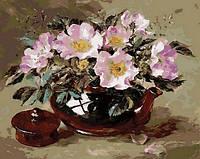 Картины по номерам 40×50 см. Шиповник в глиняном чайнике Художник Коттерил Анне