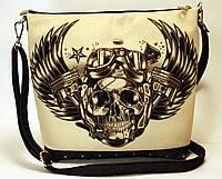 Джинсовая стеганная сумочка Моточереп, фото 1