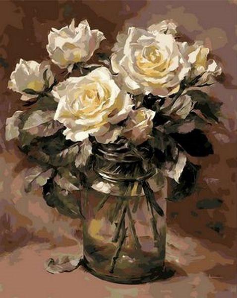 Картины по номерам 40×50 см. Белые розы в банке Художник Коттерил Анне