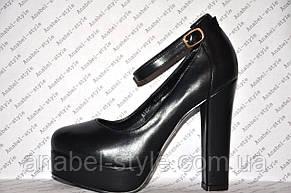 Туфли  с застёжкой на высоком устойчивом каблуке черные Код 335, фото 2