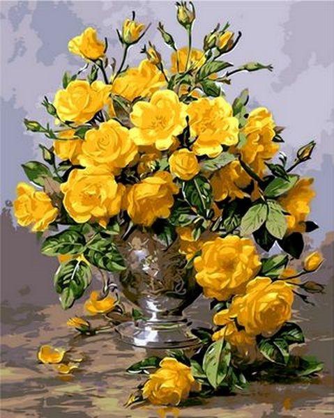Картины по номерам 40×50 см. Желтые розы Художник Уильямс Альберт, фото 1
