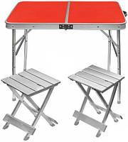 Туристический столик со стульями TE-021 AS, алюминий, ДВП, 2 табуретки, ручка для переноски