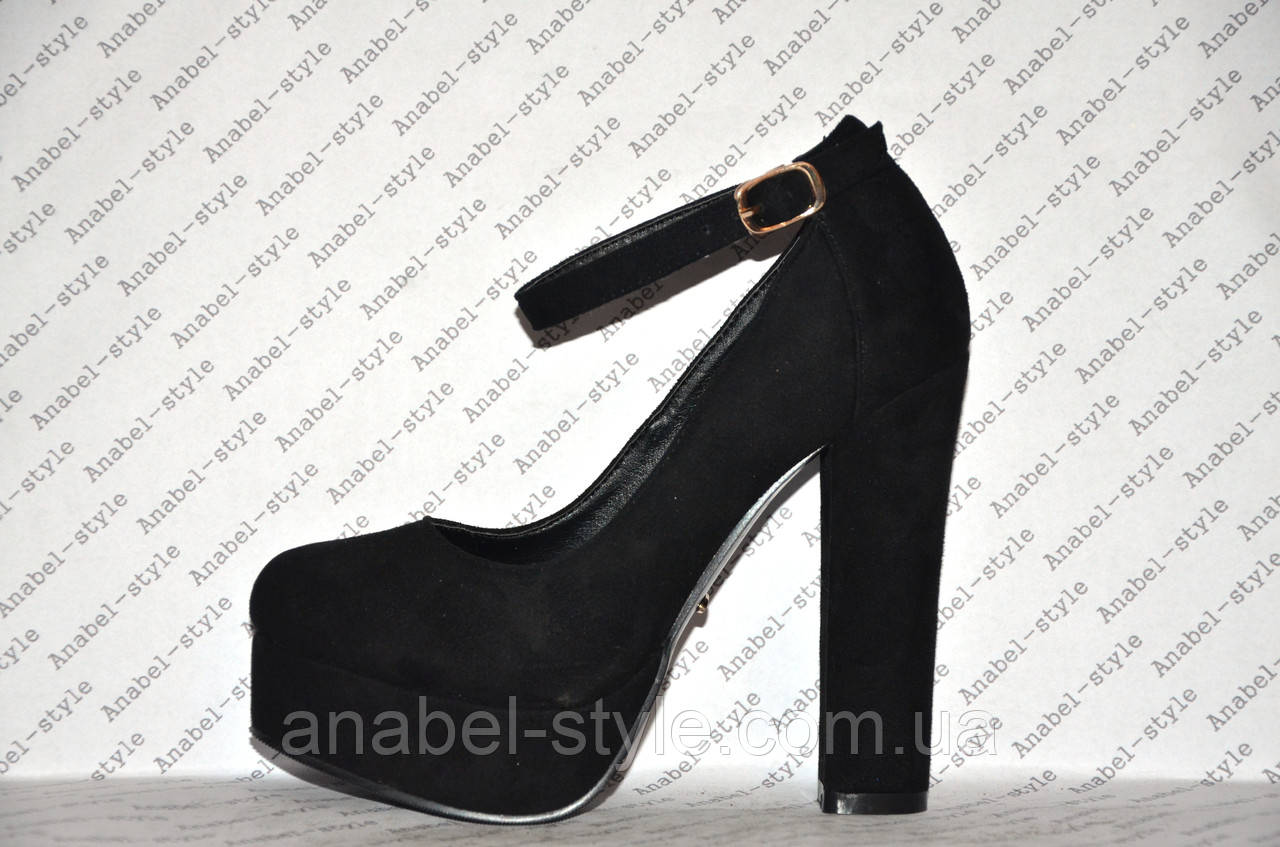 Туфли замшевые на высоком устойчивом каблуке с застёжкой черные Код 332