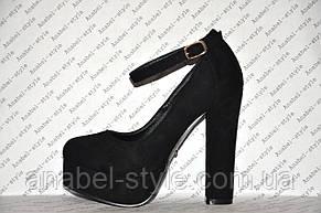 Туфли замшевые на высоком устойчивом каблуке с застёжкой черные Код 332, фото 2