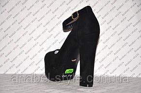Туфли замшевые на высоком устойчивом каблуке с застёжкой черные Код 332, фото 3