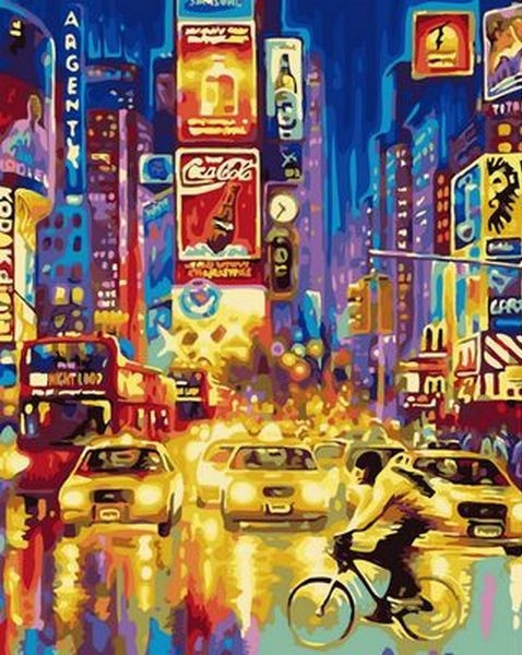 Рисование по номерам 40×50 см. Огни большого города, Таймс-сквер — Нью-Йорк