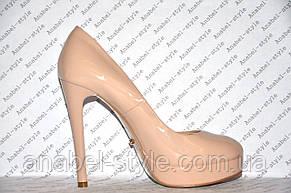 Туфли женские лаковые стильные на шпильке бежевого цвета (пудра) Код 330, фото 2