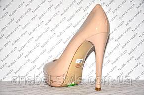 Туфли женские лаковые стильные на шпильке бежевого цвета (пудра) Код 330, фото 3