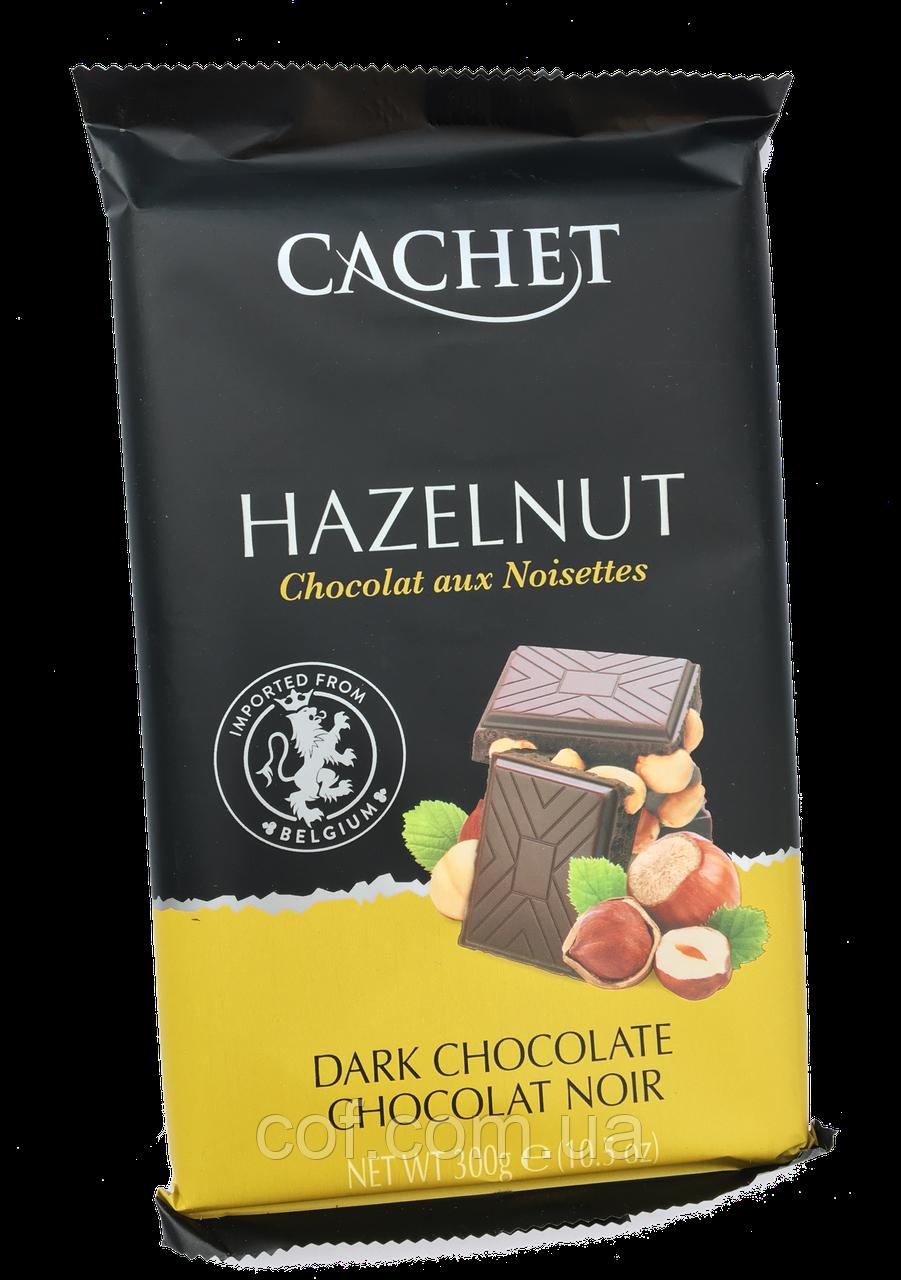 Шоколад черный Cachet Hazelnut (с цельным лесным орехом) 300г (Бельгия)