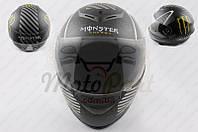 "Шлем-интеграл ""MONSTER ENERGY"" (size:ХL, черный матовый) (код товара I-234)"