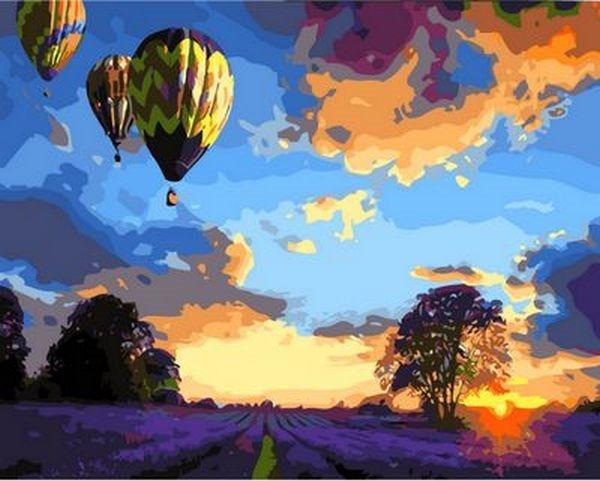Картины по номерам 40×50 см. Закат над лавандовым полем