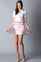 Молодежная мини-юбка со вставками Ю64