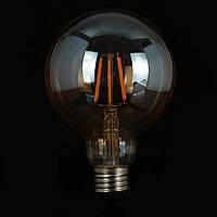"LED лампа Эдисона G-95  (7w) (AMBER) ""NEW"" Filament (диммируемая)"