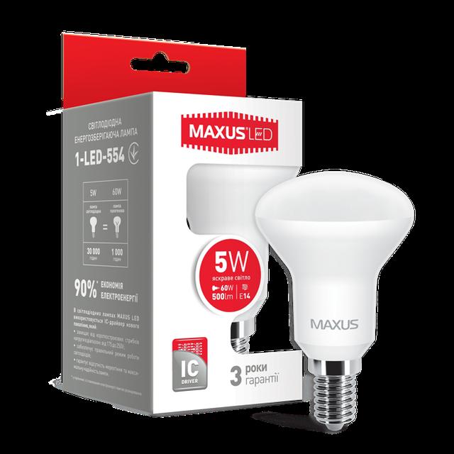 Лампа светодиодная MAXUS R50 5W E14 яркий свет