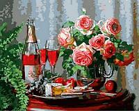 Картины по номерам 40×50 см. Натюрморт с сыром и красным вином Художник Энн Мортон