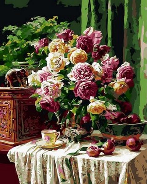 Картины по номерам 40×50 см. Бордовые розы и гранат Художник Энн Мортон